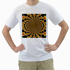 Psychedelic Sunflower Men s T-Shirt (White) (Two Sided)