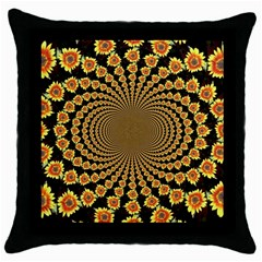 Psychedelic Sunflower Throw Pillow Case (Black)