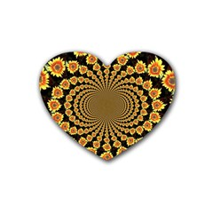 Psychedelic Sunflower Rubber Coaster (Heart)