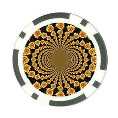 Psychedelic Sunflower Poker Chip Card Guard