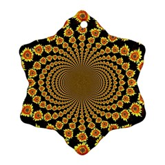 Psychedelic Sunflower Snowflake Ornament (Two Sides)