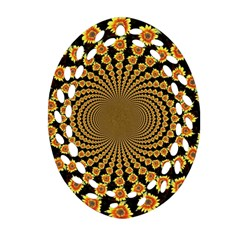 Psychedelic Sunflower Ornament (Oval Filigree)
