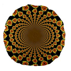 Psychedelic Sunflower Large 18  Premium Round Cushions