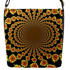 Psychedelic Sunflower Flap Messenger Bag (S)