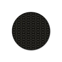 Dark Interlace Tribal  Rubber Coaster (Round)