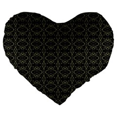 Dark Interlace Tribal  Large 19  Premium Heart Shape Cushions