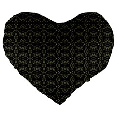 Dark Interlace Tribal  Large 19  Premium Flano Heart Shape Cushions