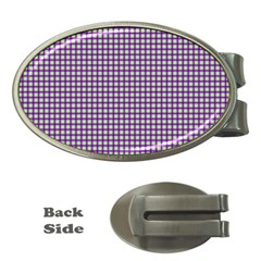 Mardi Gras Purple Plaid Money Clips (Oval)