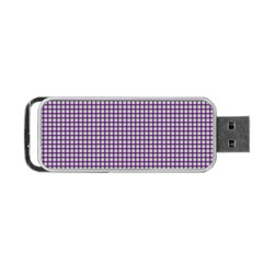 Mardi Gras Purple Plaid Portable USB Flash (One Side)