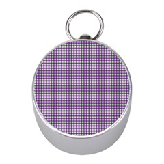 Mardi Gras Purple Plaid Mini Silver Compasses
