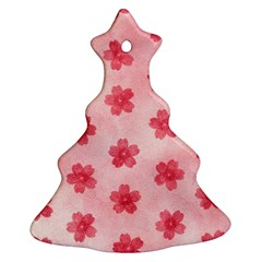 Watercolor Flower Patterns Christmas Tree Ornament (Two Sides)