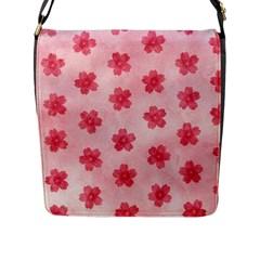Watercolor Flower Patterns Flap Messenger Bag (L)