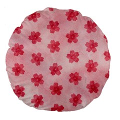Watercolor Flower Patterns Large 18  Premium Flano Round Cushions