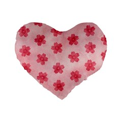 Watercolor Flower Patterns Standard 16  Premium Flano Heart Shape Cushions