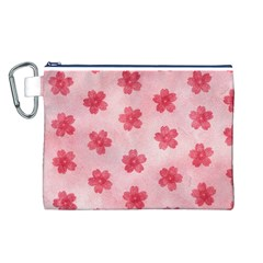 Watercolor Flower Patterns Canvas Cosmetic Bag (L)