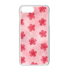 Watercolor Flower Patterns Apple Iphone 7 Plus White Seamless Case