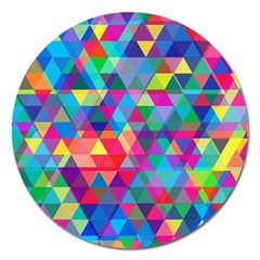 Colorful Abstract Triangle Shapes Background Magnet 5  (Round)