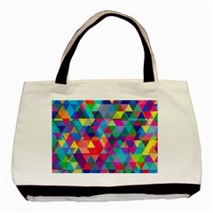 Colorful Abstract Triangle Shapes Background Basic Tote Bag