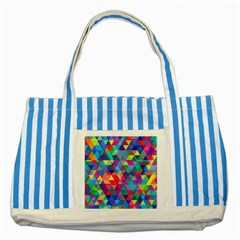 Colorful Abstract Triangle Shapes Background Striped Blue Tote Bag