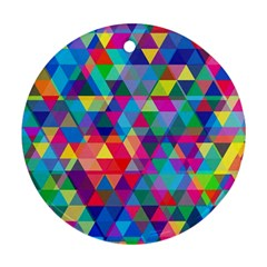 Colorful Abstract Triangle Shapes Background Round Ornament (Two Sides)