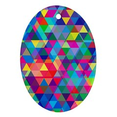 Colorful Abstract Triangle Shapes Background Oval Ornament (Two Sides)