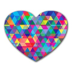 Colorful Abstract Triangle Shapes Background Heart Mousepads