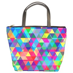 Colorful Abstract Triangle Shapes Background Bucket Bags