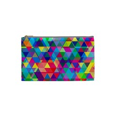Colorful Abstract Triangle Shapes Background Cosmetic Bag (Small)