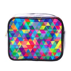 Colorful Abstract Triangle Shapes Background Mini Toiletries Bags