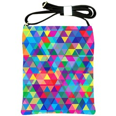 Colorful Abstract Triangle Shapes Background Shoulder Sling Bags