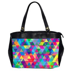 Colorful Abstract Triangle Shapes Background Office Handbags (2 Sides)