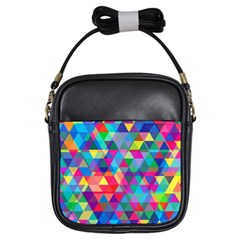 Colorful Abstract Triangle Shapes Background Girls Sling Bags
