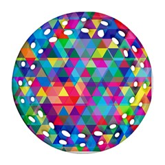 Colorful Abstract Triangle Shapes Background Ornament (Round Filigree)
