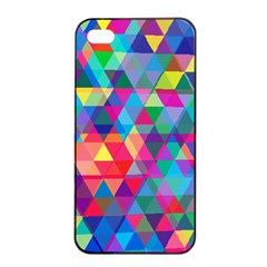 Colorful Abstract Triangle Shapes Background Apple iPhone 4/4s Seamless Case (Black)