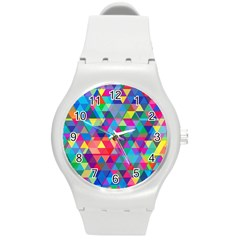 Colorful Abstract Triangle Shapes Background Round Plastic Sport Watch (M)