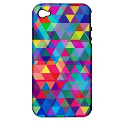 Colorful Abstract Triangle Shapes Background Apple iPhone 4/4S Hardshell Case (PC+Silicone)