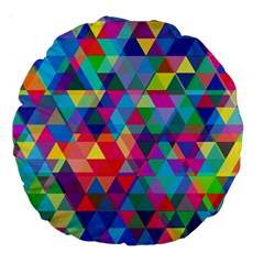 Colorful Abstract Triangle Shapes Background Large 18  Premium Round Cushions