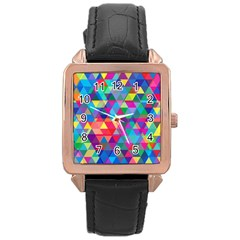 Colorful Abstract Triangle Shapes Background Rose Gold Leather Watch