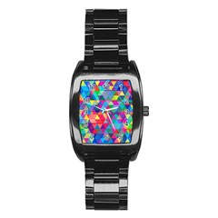 Colorful Abstract Triangle Shapes Background Stainless Steel Barrel Watch