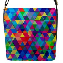 Colorful Abstract Triangle Shapes Background Flap Messenger Bag (S)