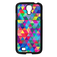 Colorful Abstract Triangle Shapes Background Samsung Galaxy S4 I9500/ I9505 Case (Black)