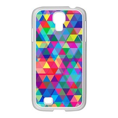 Colorful Abstract Triangle Shapes Background Samsung GALAXY S4 I9500/ I9505 Case (White)