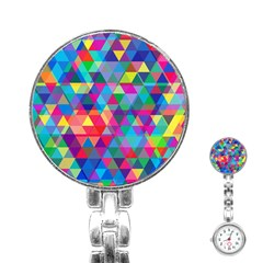 Colorful Abstract Triangle Shapes Background Stainless Steel Nurses Watch
