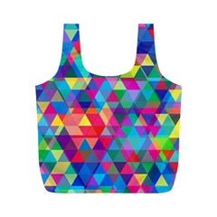 Colorful Abstract Triangle Shapes Background Full Print Recycle Bags (M)