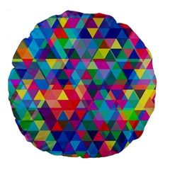 Colorful Abstract Triangle Shapes Background Large 18  Premium Flano Round Cushions