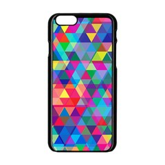 Colorful Abstract Triangle Shapes Background Apple iPhone 6/6S Black Enamel Case