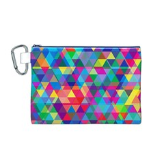 Colorful Abstract Triangle Shapes Background Canvas Cosmetic Bag (M)