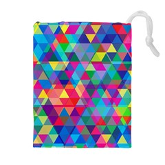 Colorful Abstract Triangle Shapes Background Drawstring Pouches (Extra Large)