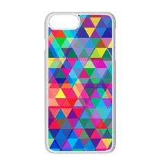 Colorful Abstract Triangle Shapes Background Apple Iphone 7 Plus White Seamless Case