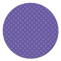 Abstract Purple Pattern Background Magnet 5  (Round)